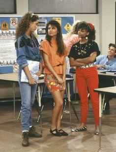 saved by the bell, television, 1990s, 90s, denim, Elizabeth Berkley, Tiffani Thiessen, Lark Voorhies