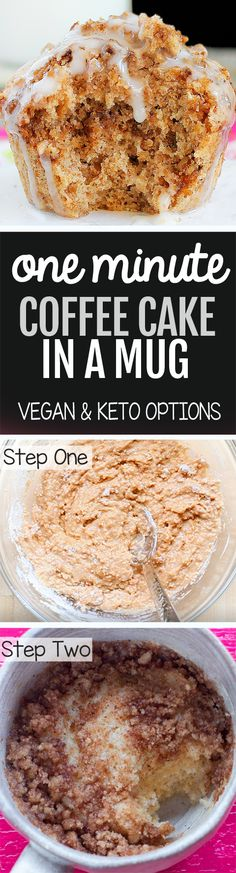21 Amazing Low Carb Keto Mug Cake Recipes Sincerely Kale Low Carb Desserts, Low Carb Recipes, Cooking Recipes, Vegan Sweets, Vegan Desserts, Homemade Desserts, Easy Desserts, Mug Recipes, Cake Recipes