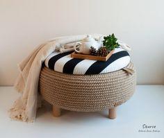 Tire Furniture, Unique Furniture, Furniture Design, Diy Para A Casa, Diy Crafts For Home Decor, Colorful Interiors, Rope Tire Ottoman, Footrest, Repurposed