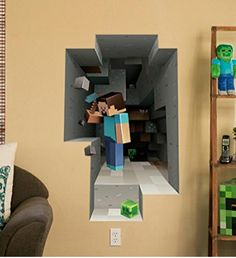 Great for your little boys room: Minecraft Wall Decal Decor with 3D Effect! See Item ---->   http://www.discountqueens.com/minecraft-wall-decal-decor-with-3d-effect-only-24-99/