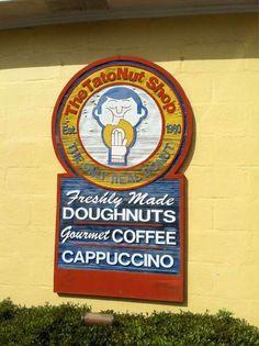 Tato-Nut Donut Shop in Ocean Springs, MS. Restaurant Photos, Menu Restaurant, Donut Signs, Ocean Springs, Loudoun County, Cappuccino Coffee, Donut Shop, Doughnuts, Beach Trip