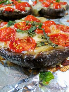 Stuffed portobello! Let the tomatoes marinate with the basil/olive oil for 15-20 minutes to get the best flavor!