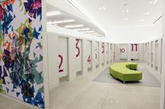 Love the Bright numbering on these dressing room doors! Sister Style   Visual Merchandising and Store Design