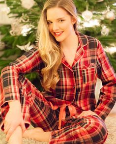 Audrey Woven Long Sleeve Brushed Check Pyjamas
