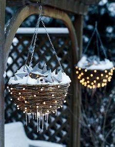 Outdoor Christmas Lighting-use your left over wicker hanging basket, led battery operated outdoor lights wrapped around the outside. Best Outdoor Christmas Decorations, Christmas Lights Outside, Christmas Porch, Christmas Time, Christmas Crafts, Christmas Lanterns, Christmas Music, Christmas Design, Rustic Christmas