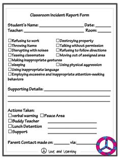 classroom incident report form from a not so wimpy teachers behavior management manual positive behavior support pbs goodies and some extra freebies