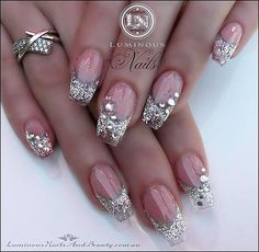 silver glitter rhinestones gradient french nails