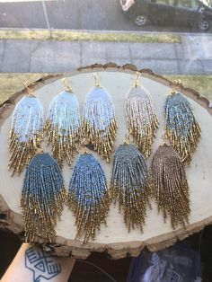 Starry Night Gold dipped Star earrings Beaded Earrings Native American style Earrings Fringe Earrings Seed Bead Earrings Boho Earrings – Welcome Beaded Earrings Native, Beaded Earrings Patterns, Fringe Earrings, Star Earrings, Diy Earrings, Jewelry Patterns, Hoop Earrings, Bracelet Patterns, Beaded Necklace