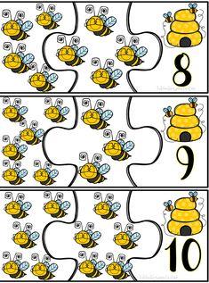 Maravilloso rompecabezas de números con abejitas | Material Educativo Bee Activities, Cute Kids Crafts, Math Sheets, Bee Movie, Cute Coloring Pages, Bee Art, Preschool Printables, Bee Theme, Math For Kids