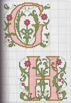GRAFICOS PUNTO DE CRUZ GRATIS : ABECEDARIOS(56) Monogram Cross Stitch, Embroidery Monogram, Cross Stitch Alphabet, Biscornu Cross Stitch, Cross Stitch Charts, Cross Stitch Embroidery, Cross Patterns, Canvas Patterns, Stitch Patterns