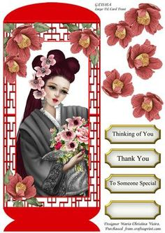 Geisha Large DL Card Front on Craftsuprint designed by Maria Christina Vieira  - Geisha large DL card front.Large DL approx. 5x11Quick card with a gorgeous Geisha on card front. Comes with four labels.Labels:Thinking of You,Thank You,To Someone Special,and one BLANK. - Now available for download!
