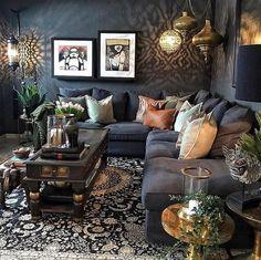 Boho Living Room Decor, Living Room Designs, Bedroom Decor, Dark Living Rooms, Home Living Room, Living Spaces, Modern Living, Gothic Living Rooms, Modern Room