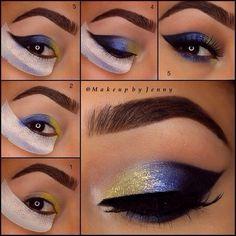 How to Rock Blue Makeup Looks – 20 Blue Makeup Ideas & Tutorials How to Rock Blue Makeup Looks – Blue Makeup Ideas & Tutorials – Das schönste Make-up How To Do Eyeshadow, Eyeshadow Step By Step, Yellow Eyeshadow, Gold Eyeshadow, Eyeshadow Makeup, Eyeliner, Mascara, Dramatic Wedding Makeup, Dramatic Eye Makeup