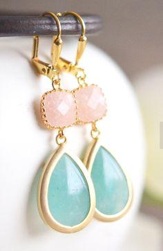 Aqua and Peach Jade Bridesmaids Earrings. Dangle Earrings. Drop Earrings. Bridesmaid Earrings. Bridal. Drop Earrings. Gift. Wedding. Modern.