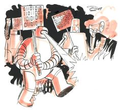 """Illustration by Graham Roumieu, accompanying the article, """"Free Speech for Computers?"""" by Tim Wu"""