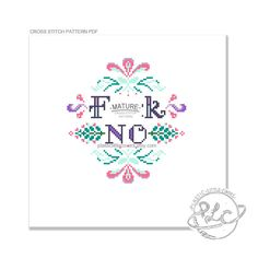 "MATURE ""F-ck No"" Modern Colourful Cross Stitch Pattern. Digital Download PDF. by plasticlittlecovers on Etsy https://www.etsy.com/listing/197383919/mature-f-ck-no-modern-colourful-cross"