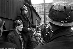 Men still wearing their safety hats and head lamps gather around to listen to the speaker at a National Coal Miners' Union meeting in Workington, Cumbria in The economy of the town of Workington was highly dependent on the coal industry during the Family History Book, History Books, Appalachian People, North Shields, Coal Miners, North East England, Contemporary Photography, Local History, Before Us