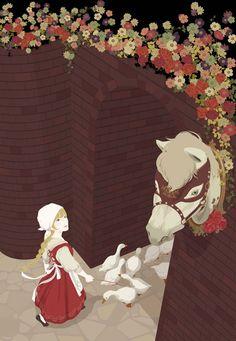 The Goose Girl. Katogi Mari Illustration.  One of my favorite fairy tales.