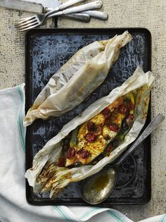 Halibut and summer vegetables en papillote