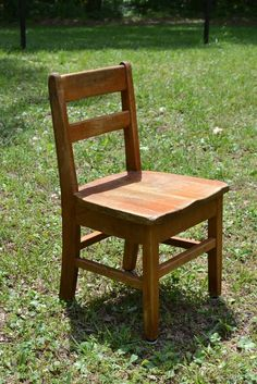 Vintage Wooden School Chair Childs Size Rustic  by PanchosPorch, $25.00