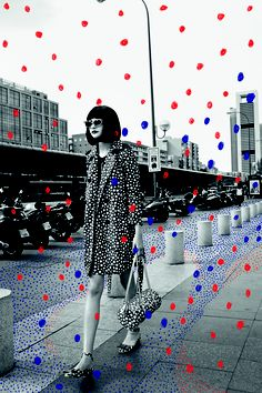 Louis Vouitton/Yayoi Kusama Blue Red Polka dots Black White fashion editorial photo