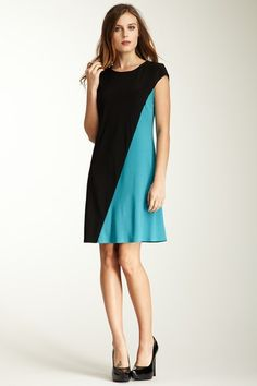 A.B.S by Allen Schwartz Short Sleeve Colorblock Dress by Blowout on @HauteLook