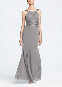 This long chiffon and charmeuse combination dress is a flattering look for all body types. The high neck is a sophisticated look that pairs nicely with the length of the dress. Dress this up with bold jewelry. Fully lined. Back zip. Imported polyester. Dry clean only. Get inspired by our colors.. To protect your dress, try our Non Woven Garment Bag. *SPECIAL VALUE! Was $149.00, Now $119.99! (final selling price; no additional discount may be applied).Lightweight shimmery satin with a soft…