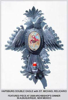 photo of Hapsburg Double Eagle Tin Art. Colonial Art, Spanish Colonial, Tin Art, Religious Art, Eagle, Clock, Mexico, Icons, Little Birds