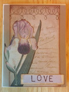 Botanical Iris Love Card by Cindysnoopy on Etsy, $3.50