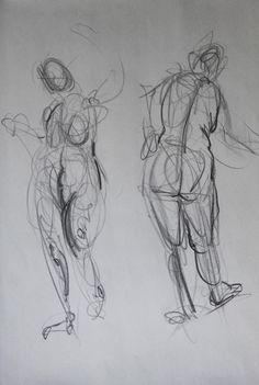 "Clara Lieu, RISD Freshman Drawing: Gesture Drawing,  lithographic crayon, 24"" x 18"", 2013"