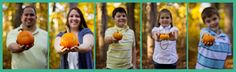 The family holding pumpkins with their names on it! { Family } | Lisa Steltenpohl Photography