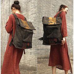 Bag - Women Cotton Linen Backpack