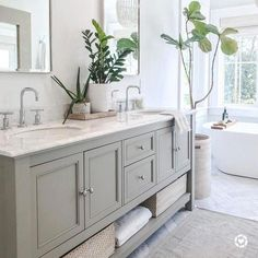 Beautiful bathroom decor a few ideas. Modern Farmhouse, Rustic Modern, Classic, light and airy bathroom design suggestions. Bathroom makeover some ideas and master bathroom renovation ideas. Bathroom Vanity, Bathroom Styling, Diy Bathroom, Diy Bathroom Decor, Bathroom Remodel Master, Bathroom Makeover, Pottery Barn Bathroom, Barn Bathroom, Bathroom Design
