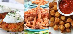 13 Crispy Party Appetizers - Deep Fried Burger Bites, Pumpkin Pie Wontons, Sweet Potato Fries, Fried Mozzarella Cheese Balls, Spicy Fried Cauliflower, Creamed Corn Fritters, Pad Thai Eggrolls, Avacao Fries, Pretzel Crusted Fried Cheese, Fried Tamale on a Stick, Salmon Cakes, Loaded Potato Rings, Deep Fried Mac'N'Cheese