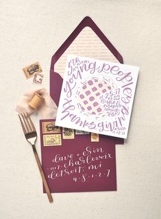Letterpress Friendsgiving invitations with whimsical playful lettering and envelope calligraphy / Young People's Thanksgiving / by Paper & Honey®️️️ paperandhoney.com / heirloom wedding invitations made in Michigan, serving Detroit, Ann Arbor, Grand Rapids, and worldwide