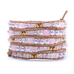 Lin Suu Jewelry Leather Long Wrap Bracelet Graduated Pink Pearlescent Crystal and Goldtone Beads ** Be sure to check out this awesome product.-It is an affiliate link to Amazon. #Bracelet