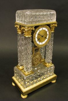 Empire Style Bronze and Crystal Baccarat Clock. Invaluable is the world's largest marketplace for art, antiques, and collectibles. Baccarat Crystal, Crystal Glassware, Waterford Crystal, Old Clocks, Vintage Clocks, Unique Clocks, Retro Clock, Father Time, Modern Clock