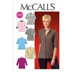 Butterick Patterns MC7018 F5 - Patrones de costura para blusas de mujer (tallas 44-52), color blanco