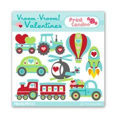 Vroom Vroom Valentines - BUY 2 GET 1 FREE - Digital Clip Art - valentines day for boys cars trucks train transportation clipart. $3.50, via Etsy.