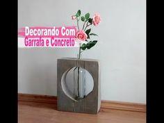 Diy Incrível Peça Decorativa Com Garrafa e Concreto / Carla Oliveira - YouTube