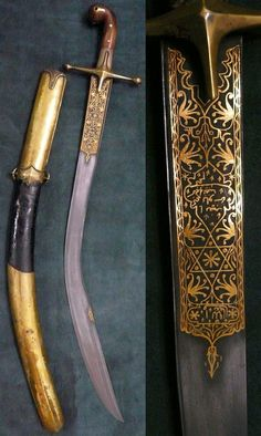 The short version of the Ottoman kilij sometimes known as ''pala'', with deeply curved wide blade and 'T' spine, used from the early 17 C. for more than 300 years well into the 20th C, steel blade with gold koftgari and T-section spine extending to the yelman, brass guard and brown horn grip scales. Leather-covered spiral stitched scabbard, brass mounts.