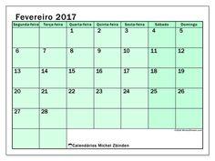 Livre! Calendários para fevereiro 2017 para imprimir