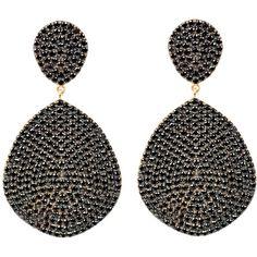 Latelita London - Monte Carlo Earring Gold Black Zircon (442,745 KRW) ❤ liked on Polyvore featuring jewelry, earrings, oxidized jewellery, zircon earrings, sparkly earrings, black and gold jewelry and black gold earrings
