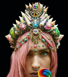 Colorful crown featuring all seeing eye
