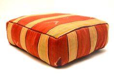 Moroccan Cushion square Ottoman Kilim Pouf 24 by Beniouraincarpets