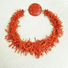 Chinese Red Coral Branch & Carved Cinnabar 18K Gold Multi-strand Necklace