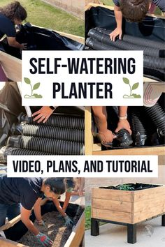 Learn how to make your own self watering planter for container gardening. This raised garden bed self watering planter DIY will remember to water your garden when you don't! #raisedgardenbed #containergarden #AnikasDIYLife Backyard Farming, Backyard Fences, Fire Pit Backyard, Backyard For Kids, Outdoor Planters, Diy Planters, Outdoor Fun, Landscaping Along Fence, Backyard Landscaping