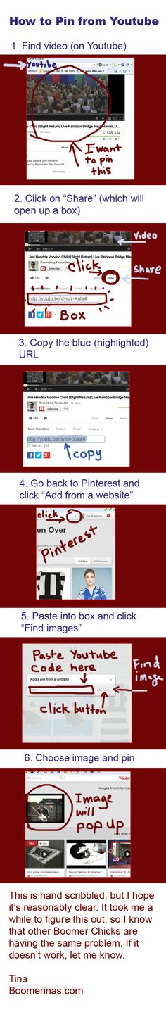 How to pin from youtube onto Pinterest. Sometimes the other ways don't work. This always works.