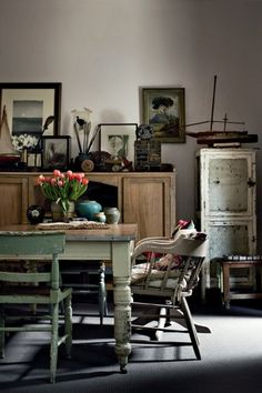 Personalize your dining room with antique furniture.