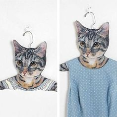 cat hangers that look like they're wearing your clothes. obviously i need to convert all my hangers to be these guys.